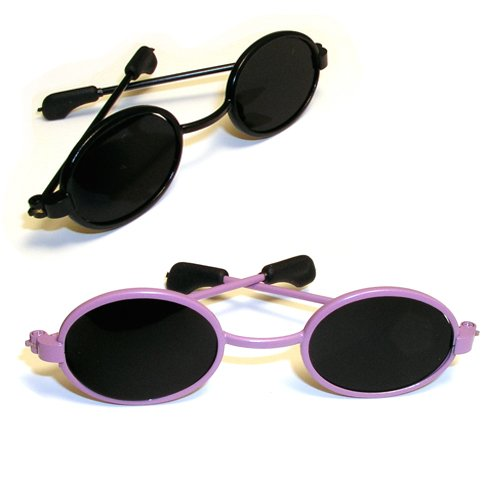 Doll Sunglasses for American Girl Dolls - 18 Inch Doll Sunglasses 2 pr. Set of Black & Purple Doll Sunglasses, Doll Accessories