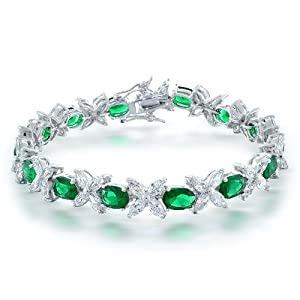 Bling Jewelry Marquise Flower CZ Oval Green Emerald Color Tennis Bracelet 8.5 in