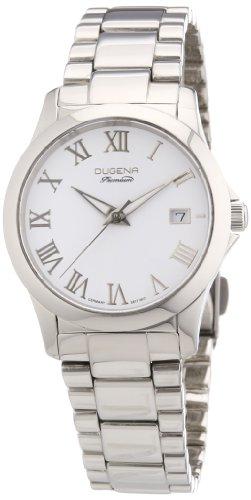 Dugena 7000106 - Reloj analógico de cuarzo para mujer con correa de acero inoxidable, color plateado