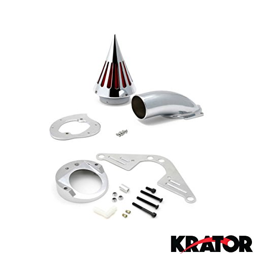 Krator® Yamaha RoadStar 1700 1600 Cruiser High Quality Chrome Billet Aluminum Cone Spike Air Cleaner Kit Intake Filter Motorcycle 1999+