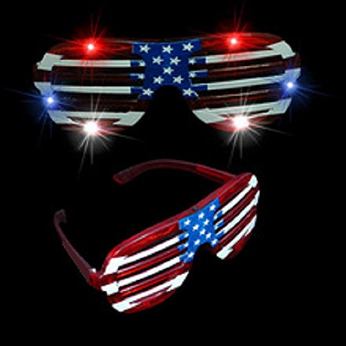 cb5a029076f 12 pairs of American Flag LED Glasses Each pair of sunglasses features many  bright LEDs 3 modes are ...