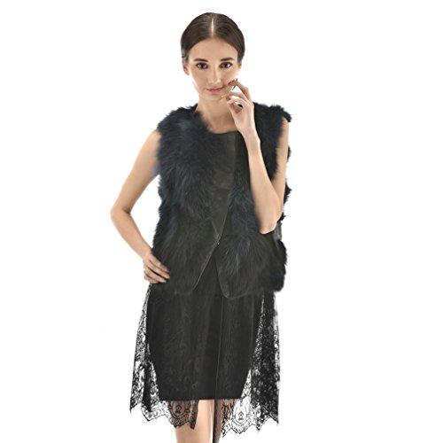 OLLEBOBO Vera Pelliccia Gilet Donna Cane Procione Fur Lanuginosa con Gonna Moda taglia XL nero