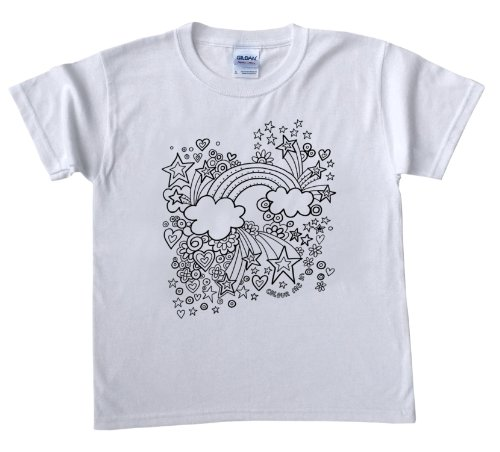 Rainbow Design T-Shirt for colouring in.