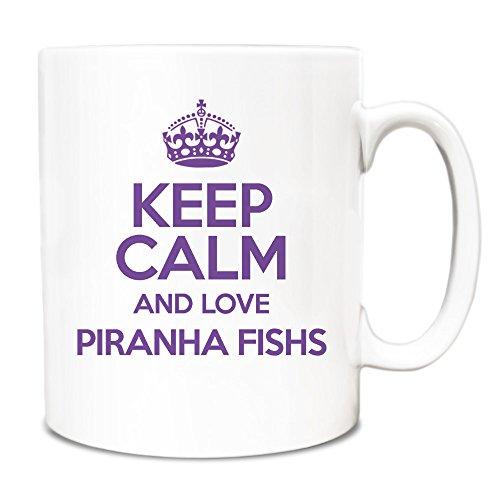 PURPLE Keep Calm and Love Piranha Fishs Mug TXT 2042