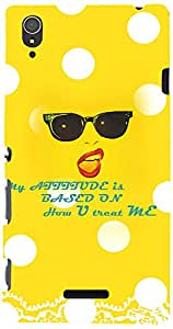 Printvisa Girly Attitude Quotes 3D-Sxpt3-D7791 Case Cover For Sony Xperia T3