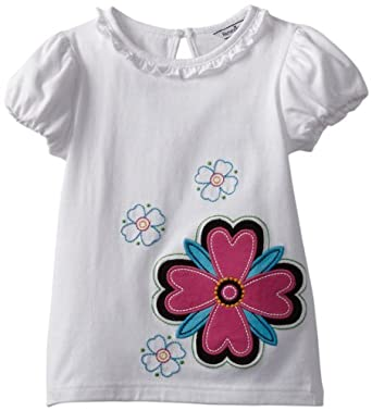 Hartstrings Little Girls' Jersey Short Sleeve Applique Flower Tee Shirt, White, 5