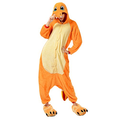 [Unisex Adult Fire Dragon Onesie Costume Animal Pajamas X-Large] (Dragon Ball Costume With Tail)