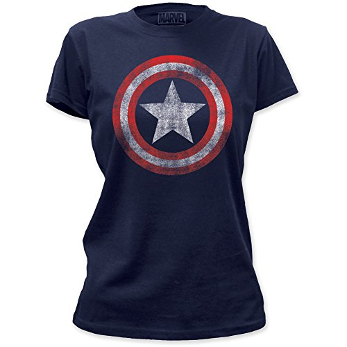 Captain America Distressed Shield Junior's T-shirt