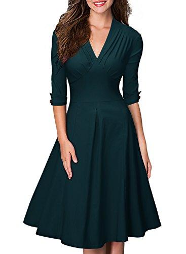 MIUSOL Women's Retro Deep-V Neck Half Sleeve Vintage Casual Swing Dress, Green, X-Large