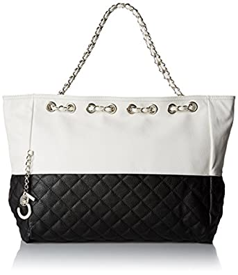 MG Collection Camryn Quilted Oversized Chain Strap Hobo, Black, One Size