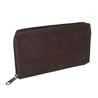 CTM® Mens Leather Zippered Credit Card Case
