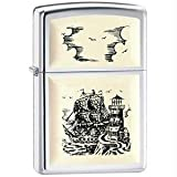 Zippo Ship Emblem Lighter - High Polished Chrome