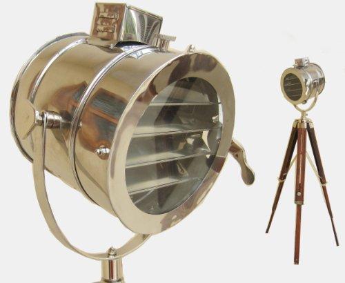 Medieval replicas - Lampada da terra, faro proiettore rétro con treppiede, design vintage