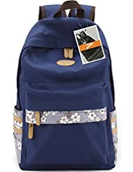 Leaper Casual Style Canvas Laptop Backpack/ School Bag/ Travel Daypack/ Handbag With Laptop Lining (Navy Blue)