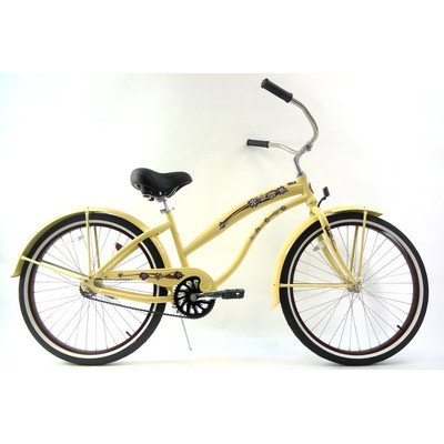 Women's Single Speed Aluminum Beach Cruiser Frame Color: Vanilla with Light Brown
