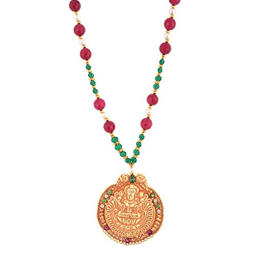 Red Manirathnum Red, Green, White Semi Precious Stones, Brass Temple Jewlery 41.00 Grams For Women (Multicolor)