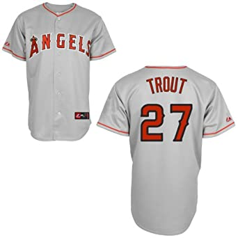 Mike Trout Jersey: Los Angeles Angels of Anaheim Adult Road Grey #27 by Majestic