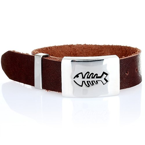 Trendy Cool Mens Watch Style Cuff Bracelet in Leather and Stainless Steel. Classy man jewellery at a great price under £20, Gift for Him. Was £36.99, Now £19.99.