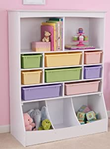 NEW Kids' White Wooden Bedroom Playroom Wall Storage w 13 Separate Compartments