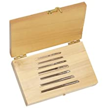 Alvord Polk 155-S-04 High-Speed Steel Taper Pin Reamer Set, Straight Flute, Uncoated Finish, 7-Piece, 7/0 - #0 Taper Pin Sizes in Wood Case