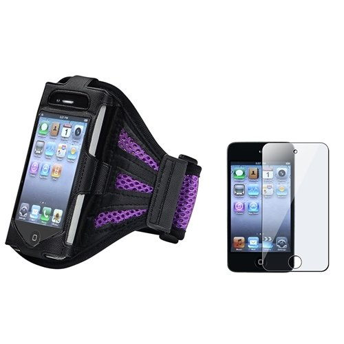 Eforcity Armband With Reusable Screen Protector For Ipod Touch 4G, Black/Purple