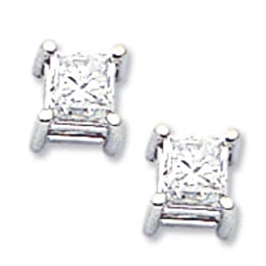 14k Gold White Gold 1ct AAA Quality Complete Princess Cut Diamond Earrings