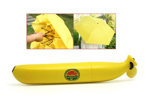 Nouveauté extérieure cadeau de mode de forme de banane pliant Sun And Rain Parapluie jaune