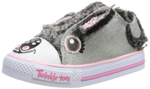 Skechers Kids' Twinkle Toes-Shuffles Sneaker Toddler (Grey/Pink 5.0 M) front-448493