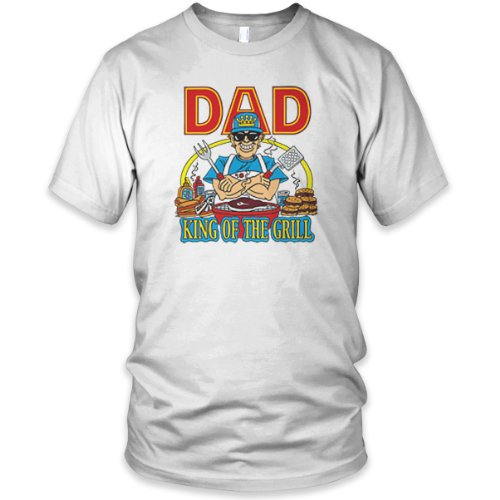 Dad, King of the Grill Fine Jersey T-Shirt, White, M