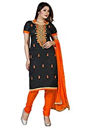 Meet Enterprise Black & Orange Satin Dress Material