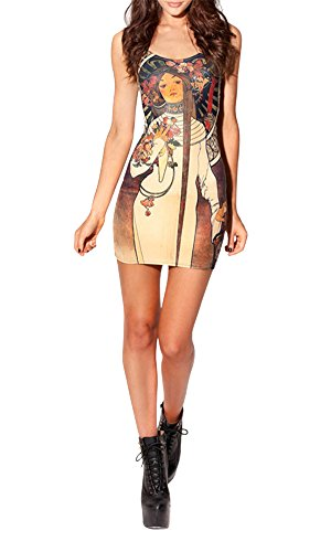 Summer Women'S Designed Digital Printing La Trappistine Pattern Sleeveless Dress