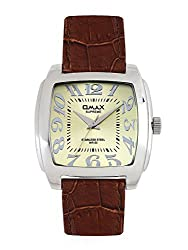 OMAX ANALOG LEATHER STRAP GOLD DIAL WATCH FOR MEN (MONTRES OMAX S.A. - A SWISS WATCH COMPANY) ...