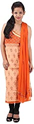 RV's Collection Women's Cotton Unstitched Salwar Suit Piece (Skin And Orange, RB-19)