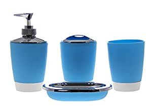 justnile 4 piece acrylic bathroom accessory set blue home kitchen