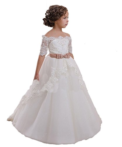 CoCoBridal Lace Flower Girls Dresses Girls First Communion Dress Princess Wedding (5T, White)