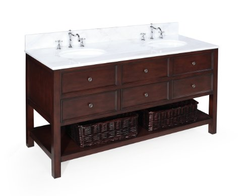 New Yorker 60-inch Bathroom Vanity (White/Chocolate): Includes a Chocolate Cabinet, Soft Close Drawers, a Marble Countertop, and Two Ceramic Sinks