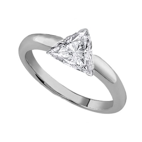 Platinum Solitaire Diamond Engagement Ring Trillion Triangle Cut ( J Color Si1 Clarity 1.05 Ctw) - Size 3