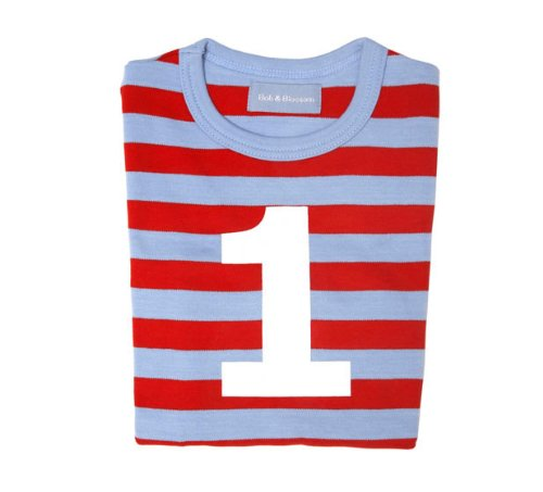 Bob and Blossom Sky Blue and Red Striped Number T-shirt 1-2y