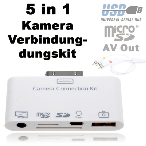 5 in 1 camera connection kit Anschlu&#223; Set f&#252;r Apple iPad / ipad 2 / new iPad iPad 3 iPhone 4 (eingeschr&#228;nkt) / Ipod Touch (eingeschr&#228;nkt) mit Audio &amp; Video Ausgang (AV-Out Composite) USB 2.0 &amp; mini USB Port, SD und Micro SD Karten Slot inklusive Kabel f&#252;r Audio &amp; Video &#220;bertragung und Micro USB Kabel (*Audio- &amp; Video&#252;bertragung funktioniert auch bei iPod, iPod Touch und iPhone) inkl. Original Mainbay-Set (Notfallbumper&#174;)