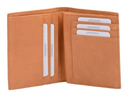 Avanco Men's Leather ID Card Holder 5.1 x 3.9 x 0.6 inch natural colored