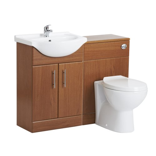 Trueshopping 550mm Calvados Floor Standing Bathroom Vanity Storage Furniture Sink And Toilet Set