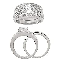 Filligree CZ Wedding Set with 8mm CZ