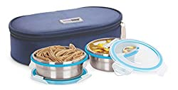 Steel Lock HL- 1351 Airtight 2 pc 400 ml Each Lock Steel Lunch / Meal/Tiffin Box with Insulated bag