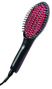 Ontel Products Corp Simply Straight Ceramic Brush Hair Straightener, Black/Pink