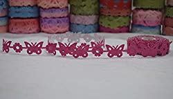 AsianHobbyCrafts Polyester Fabric Adhesive Laser Cut Design Ribbons Printed Multi-Colored used for Scrapbooking, Hobbycrafts, Gift-wrapping etc. Width: 1.8cm; Qty: 1 Roll color per pack Length: 5 Mtrs(approx.) (Dark pink adhesive)
