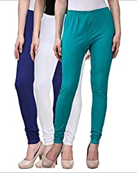 Desi Duos Women's Solid Cotton Leggings With Black , Light Green & White Color