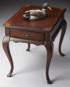 Accent Furniture - Carlyle Manor Inlaid End Table - Plantation Cherry Finish