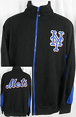 New York Mets MLB Licensed Embroidered Track Jacket Black Tall Sizes