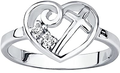 Christian Promise Ring for Her: Sterling Silver CZ Simulated Diamond Heart & Cross Ring, Choose Size