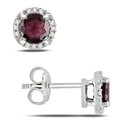 Sterling Silver 1 1/6 CT TGW Garnet 0.07 CT TDW Diamond Stud Earrings (G-H, I3)